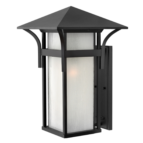 Hinkley Etched Seeded Glass LED Outdoor Wall Light Black Hinkley 2579SK-LED