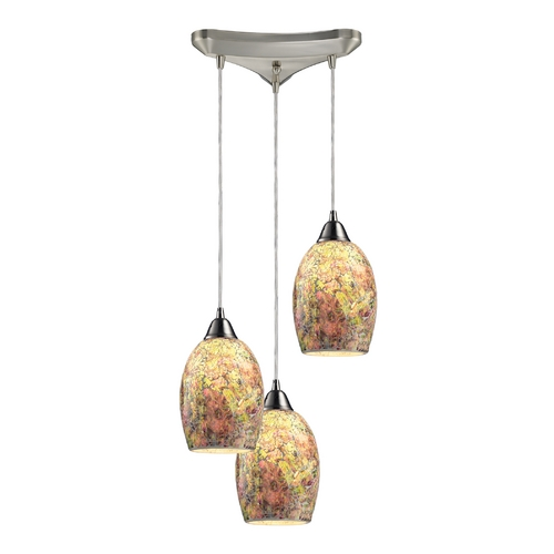 Elk Lighting Modern Multi-Light Pendant Light with Multi-Color Glass and 3-Lights 73021-3