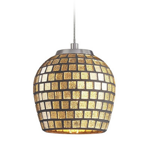 Elk Lighting Low Voltage LED Mini-Pendant Light with Gold Glass PF1000/1-LED-BN-GLD