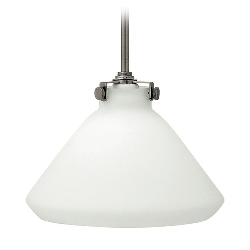 Hinkley Lighting Hinkley Lighting Congress Antique Nickel Mini-Pendant Light with Conical Shade 3131AN-GU24