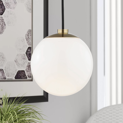 Mitzi by Hudson Valley Stella Aged Brass Mini-Pendant Light Mitzi by Hudson Valley H105701-AGB