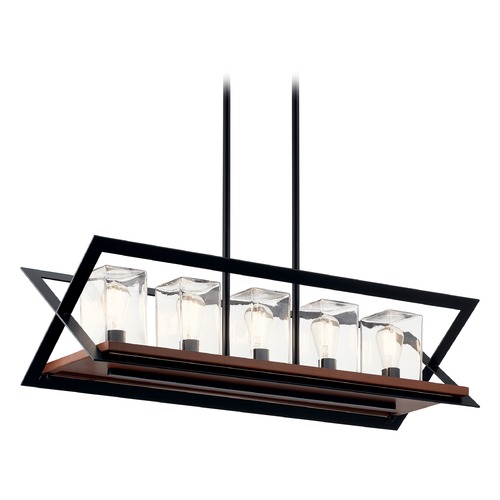 Kichler Lighting Morelle Black 5-Light Outdoor Chandelier with Clear Glass 49309BK