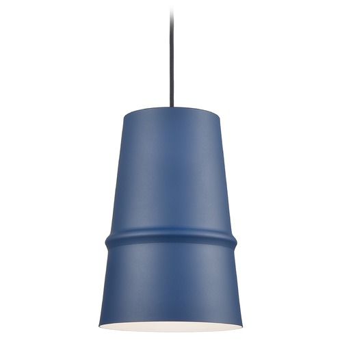 Kuzco Lighting Kuzco Lighting Castor Indigo Blue / Matte White Pendant Light with Conical Shade 492208-IB