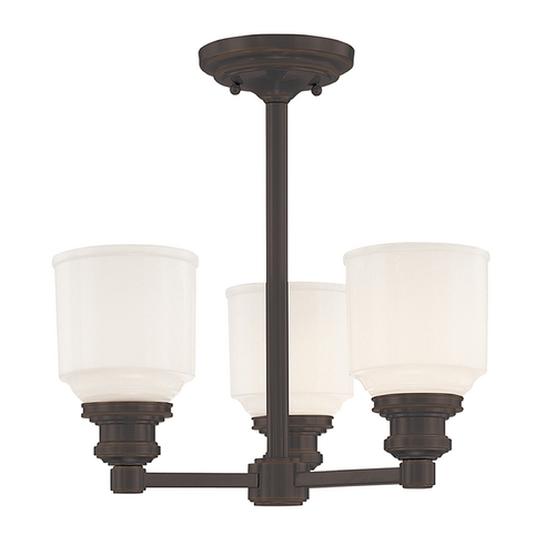 Hudson Valley Lighting Semi-Flushmount Light with White Glass in Old Bronze Finish 3413-OB
