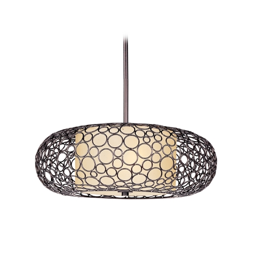 Maxim Lighting Pendant Light with White Glass in Umber Bronze Finish 21347DWUB