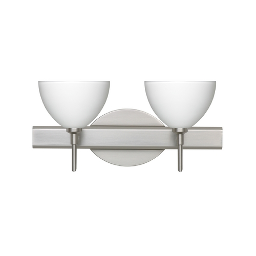 Besa Lighting Modern Bathroom Light with White Glass in Satin Nickel Finish 2SW-467907-SN