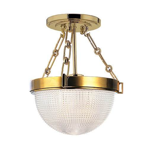 Hudson Valley Lighting Semi-Flushmount Light with Clear Glass in Aged Brass Finish 4409-AGB
