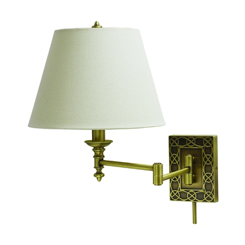 House of Troy Lighting Swing Arm Lamp with White Shade in Antique Brass Finish WS763-AB