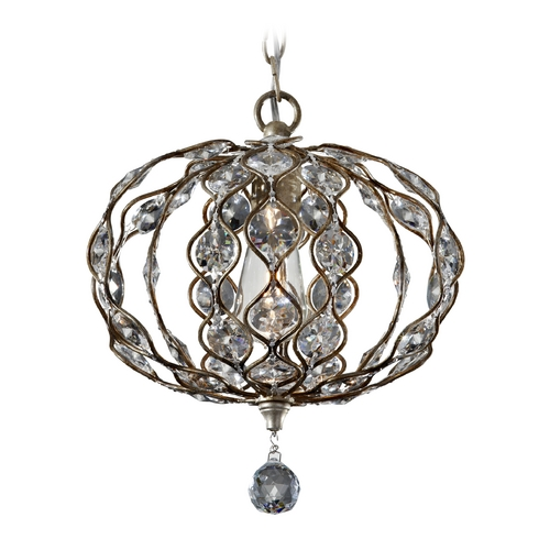 Feiss Lighting Feiss 1-Light Crystal Chandelier in Burnished Silver F2742/1BUS