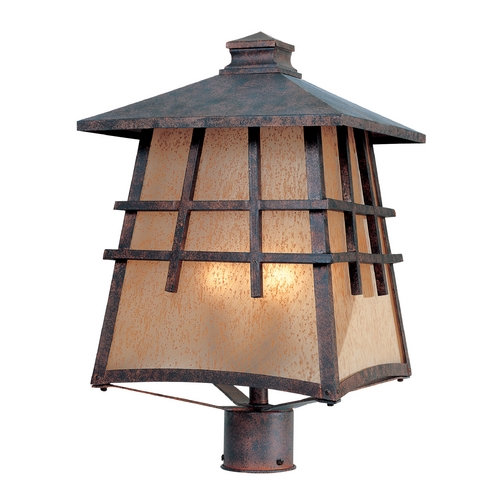 Designers Fountain Lighting Post Light with Amber Glass in Mediterranean Patina Finish 30726-MP