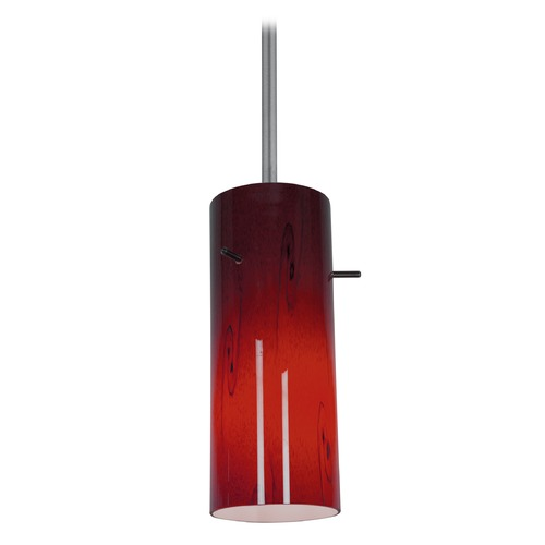 Access Lighting Modern Mini-Pendant Light with Red Glass 28030-1R-BS/RUSKY