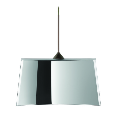 Besa Lighting Besa Lighting Groove Frosted Glass Bronze Mini-Pendant Light 1XT-6773MR-BR