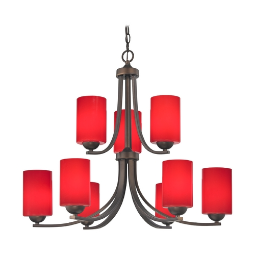 Design Classics Lighting 2-Tier 9-Light Chandelier with Red Cylinder Glass in Bronze 586-220 GL1008C