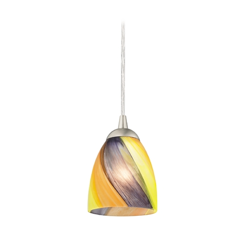 Design Classics Lighting Contemporary Mini-Pendant Light with Bell Art Glass Shade 582-09 GL1015MB