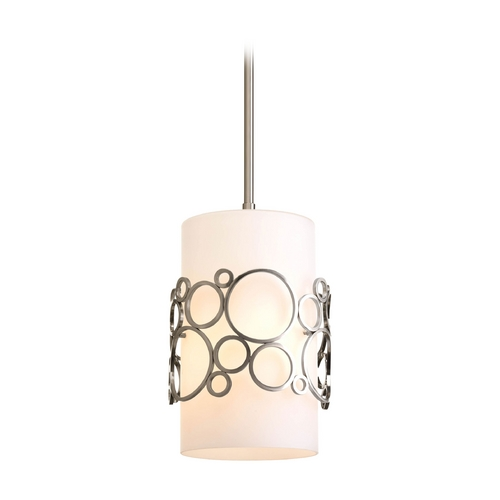 Progress Lighting Progress Modern Mini-Pendant Light with White Glass P5314-09
