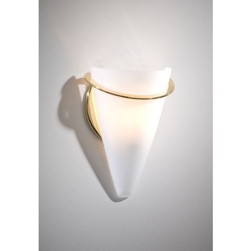 Holtkoetter Lighting Holtkoetter Modern Sconce Wall Light with White Glass in Polished Brass Finish 2977 PB SW