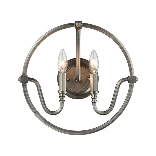 Elk Lighting Elk Lighting Stanton Weathered Zinc, Brushed Nickel Sconce 11840/2