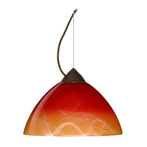 Besa Lighting Besa Lighting Tessa Bronze LED Pendant Light with Bell Shade 1KX-4201SL-LED-BR