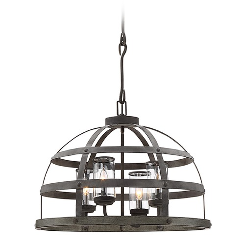 Savoy House Savoy House Lighting Aiken Winterwood Pendant Light with Cylindrical Shade 7-7090-4-49