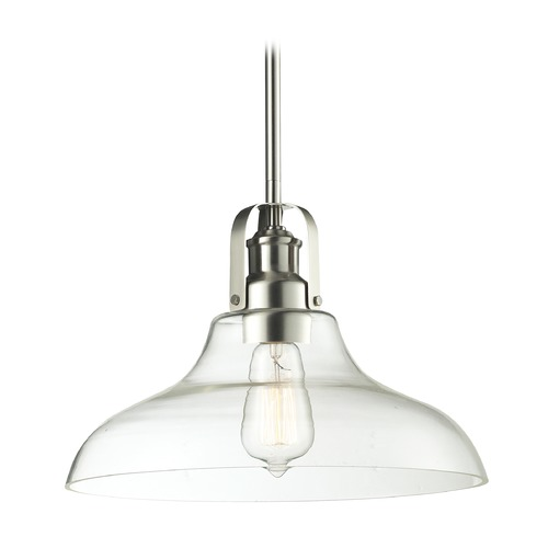 Z-Lite Z-Lite Forge Brushed Nickel Pendant Light with Bowl / Dome Shade 320-13MP-BN