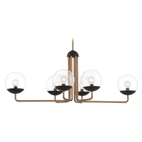 George Kovacs Lighting George Kovacs Outer Limits Painted Bronze with Natural Brushed Brass Island Light with Globe Shade P1506-416