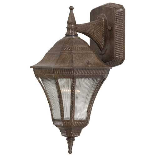 Minka Lavery Outdoor Wall Light with Clear Glass in Vintage Rust Finish 8201-61
