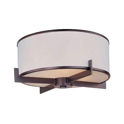 Maxim Lighting Modern Flushmount Light with White Shade in Oil Rubbed Bronze Finish 12050WTOI
