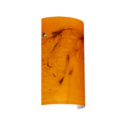 Besa Lighting Modern Sconce Wall Light with Orange Glass in Satin Nickel Finish 7042HB-SN