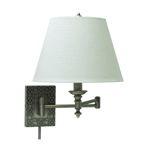 House of Troy Lighting Swing Arm Lamp with White Shade in Antique Silver Finish WS763-AS