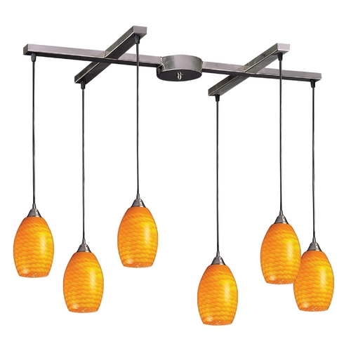 Elk Lighting Modern Multi-Light Pendant Light with Yellow Glass and 6-Lights 517-6CN