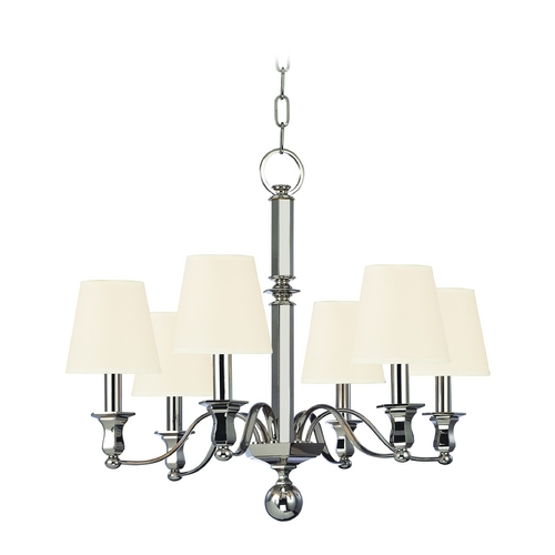 Hudson Valley Lighting Chandelier with White Shades in Polished Nickel Finish 1416-PN-WS
