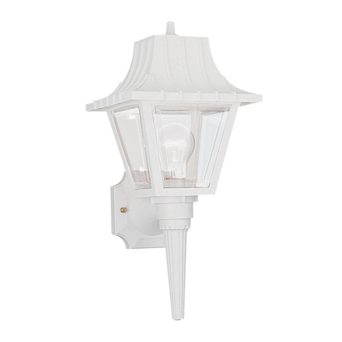Sea Gull Lighting Outdoor Wall Light with Clear Glass in White Finish 8720-15