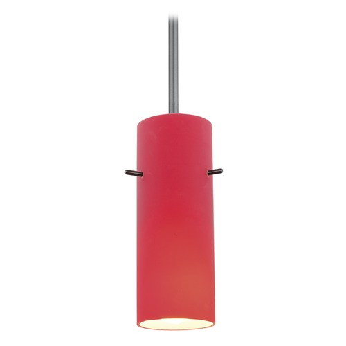 Access Lighting Modern Mini-Pendant Light with Red Glass 28030-1R-BS/RED