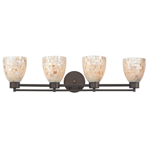 Design Classics Lighting Bathroom Light with Mosaic Glass - Four Lights 704-220 GL1026MB
