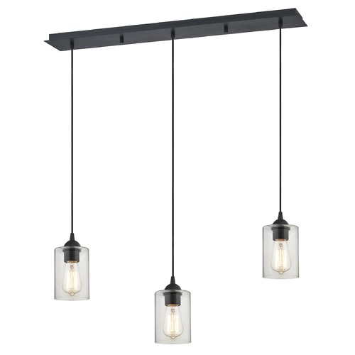 Design Classics Lighting 36-Inch Linear Pendant with 3-Lights in Matte Black Finish with Clear Glass 5833-07 GL1040C