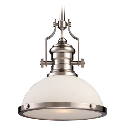 Elk Lighting Elk Lighting Chadwick Satin Nickel LED Pendant Light with Bowl / Dome Shade 66123-1-LED