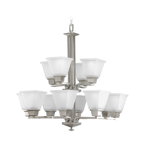 Progress Lighting Progress Chandelier with White Glass in Brushed Nickel Finish P4053-09