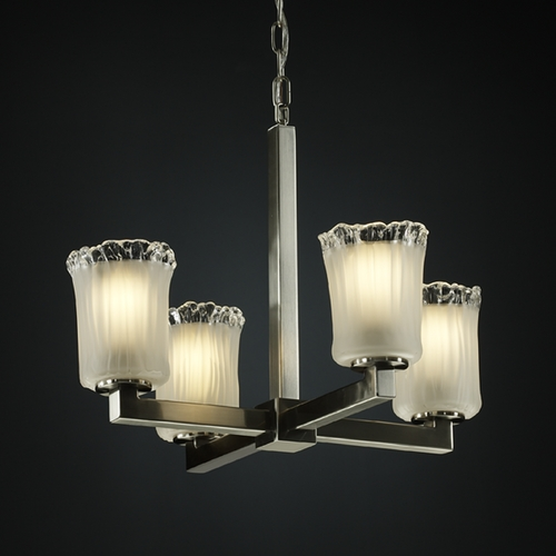Justice Design Group Justice Design Group Veneto Luce Collection Mini-Chandelier GLA-8829-16-WTFR-NCKL