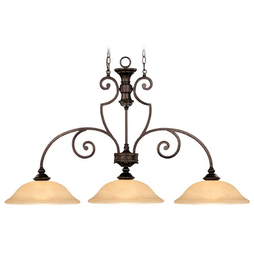 Savoy House Savoy House Antique Copper Island Light with Bowl / Dome Shade 1P-50208-3-16