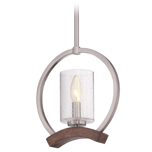 Quoizel Lighting Quoizel Kayden Brushed Nickel Mini-Pendant Light with Cylindrical Shade KDN1510BN