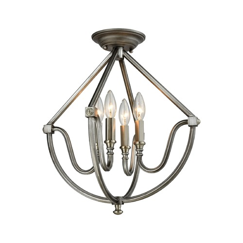 Elk Lighting Elk Lighting Stanton Weathered Zinc, Brushed Nickel Semi-Flushmount Light 11841/4