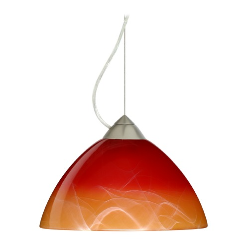 Besa Lighting Besa Lighting Tessa Satin Nickel LED Pendant Light with Bell Shade 1KX-4201SL-LED-SN