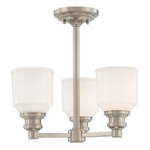 Hudson Valley Lighting Semi-Flushmount Light with White Glass in Satin Nickel Finish 3413-SN