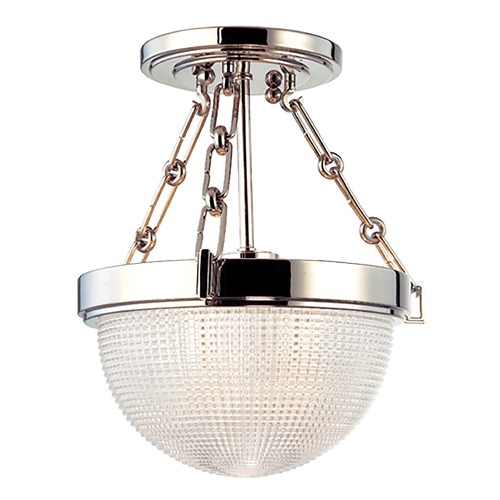 Hudson Valley Lighting Semi-Flushmount Light with Clear Glass in Polished Nickel Finish 4409-PN