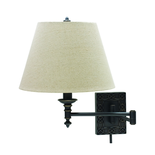 House of Troy Lighting Swing Arm Lamp with White Shade in Oil Rubbed Bronze Finish WS763-OB