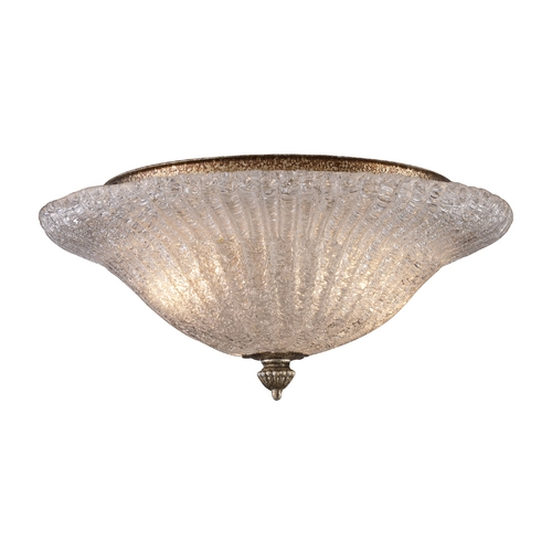 Elk Lighting Flushmount Light w/Textured Clear Glass in Antique Silver Leaf Finish 1511/2