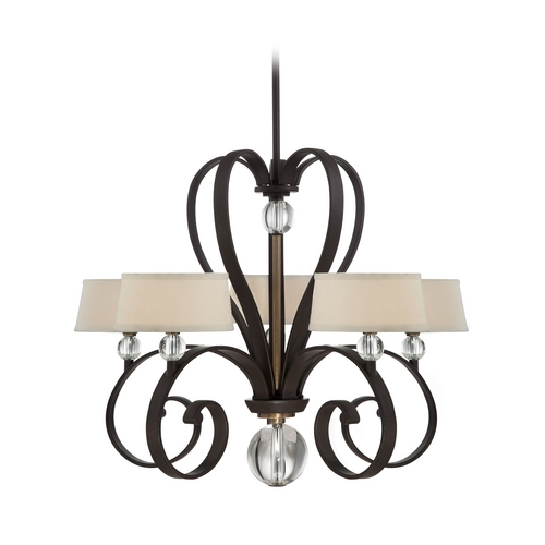 Quoizel Lighting Modern Chandelier with White Shades in Western Bronze Finish UPMM5005WT