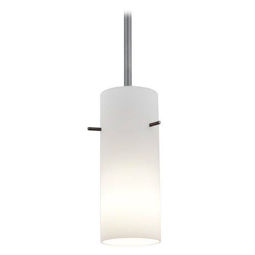 Access Lighting Modern Mini-Pendant Light with White Glass 28030-1R-BS/OPL