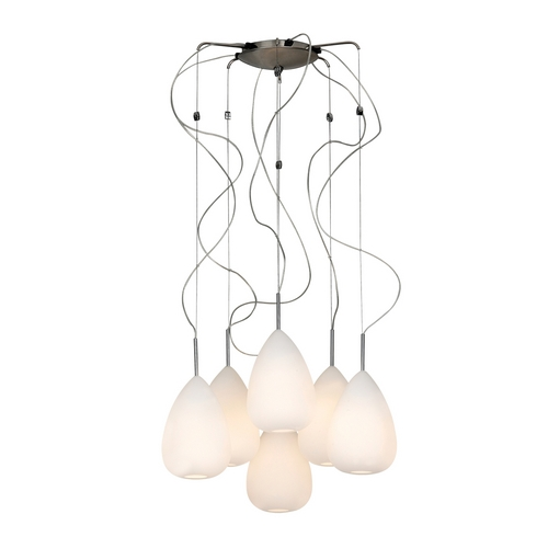 PLC Lighting Modern Multi-Light Pendant Light with White Glass and 6-Lights 67036 PC