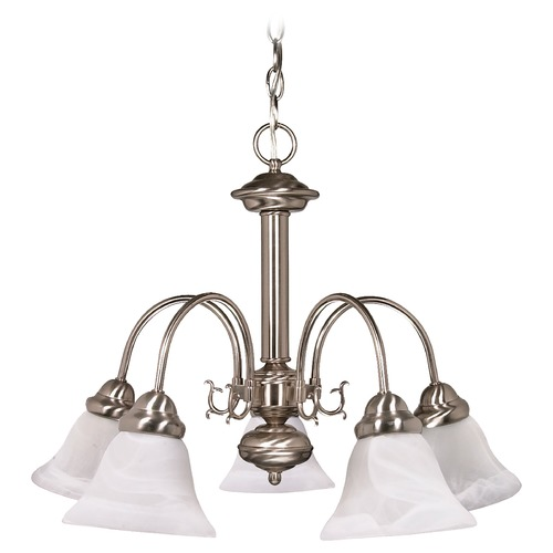 Nuvo Lighting Chandelier with Alabaster Glass in Brushed Nickel Finish 60/181
